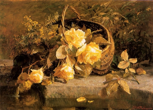 Still life of flowers in a basket by waters edge.jpg