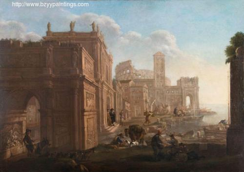 Architectural Capriccio depicting Arch of Constantine the Colosseum and Santa Maria in Cosmedin.jpg