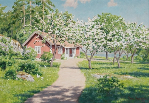 Cottage with flowering fruit trees.jpg